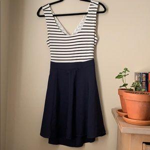 Blue stripe open back dress